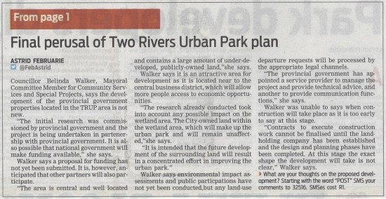 Park developers dig in Cont. (People's Post, 24 October 2013)