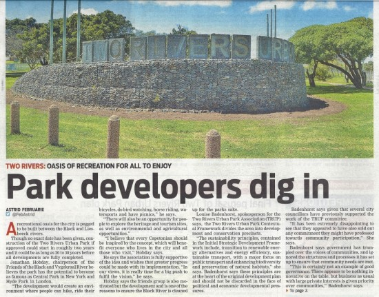 Park developers dig in (People's Post, 24 October 2013)