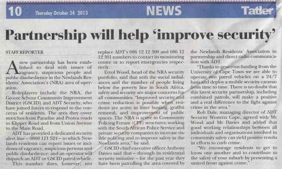 Partnership will help 'improve security' (Tatler, 24 October 2013)