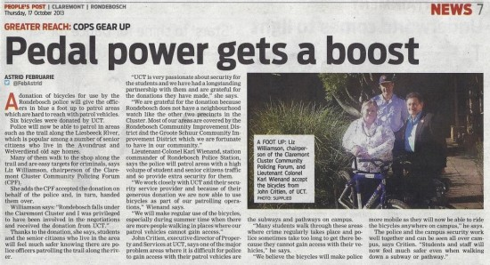 Pedal power gets a boost (People's Post, 17 October 2013)