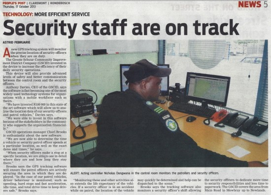 Security staff are on track (People's Post, 17 October 2013)
