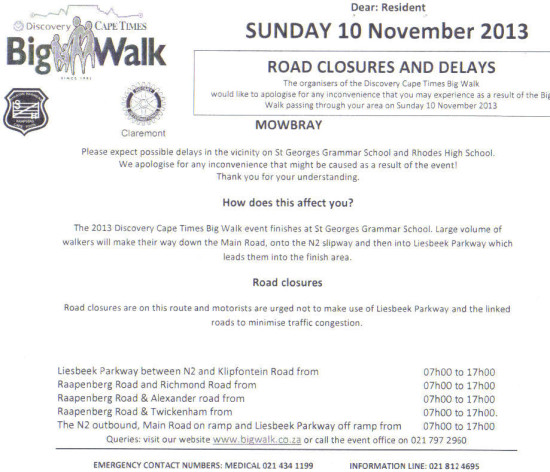 Big Walk Road Closures - 10 November 2013
