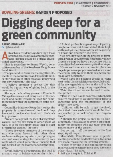 Digging deep for a green community (People's Post 7 November 2013)