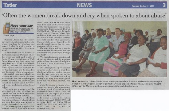 Domestic workers schooled on safety Cont. (Tatler, 31 october 2013)