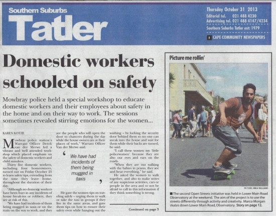 Domestic workers schooled on safety (Tatler, 31 october 2013)