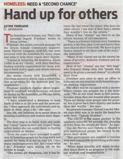 Hand up for others (People's Post, 28 November 2013)