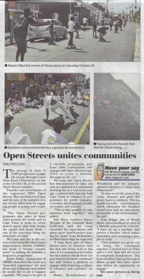 Open Streets unites communities (Tatler, 31 October 2013)