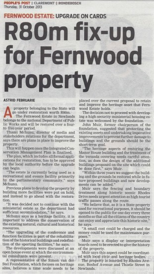 R 80m fix-up for Fernwood property (People's Post, 31 October 2013)