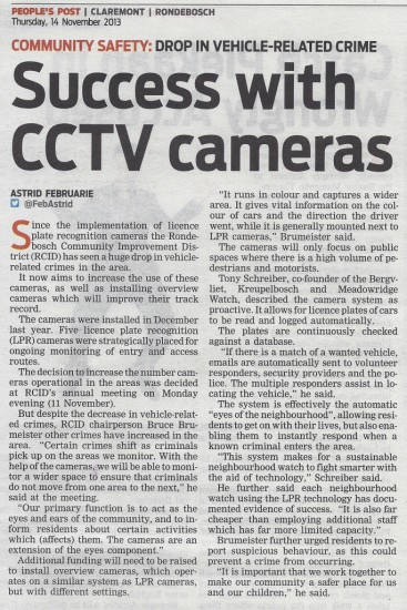 Success with CCTV cameras (People's Post, 14 November 2013)