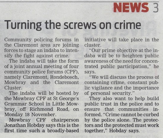 Turning the screws on crime (People's Post, 14 November 2013)