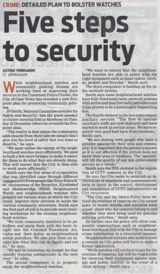 Five steps to security (People's Post, 12 December 2013)
