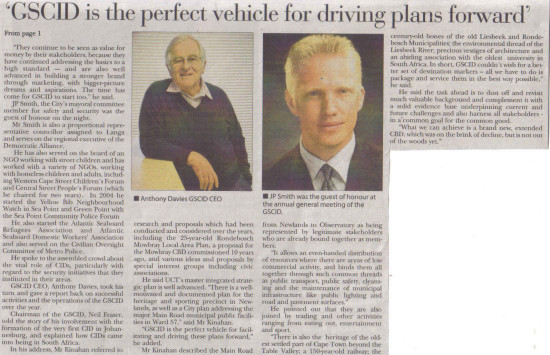 GSCID is the perfect vehicle for drivng plans forward (Tatler, 5 December 2013)