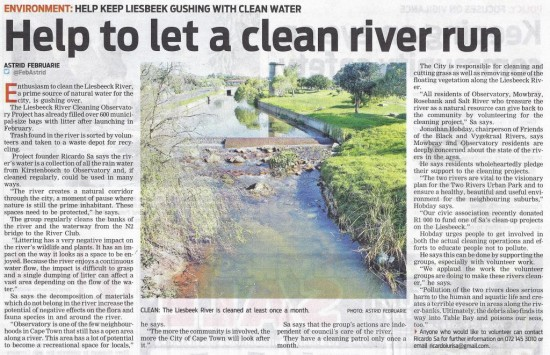 Help to let a clean river run (People's Post, 12 December 2013)