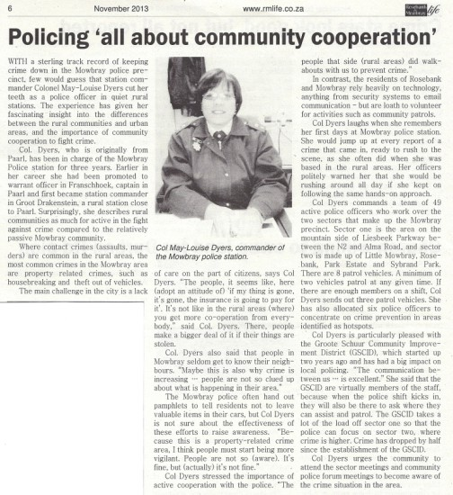 Policing 'all about community cooperation' (Rosebank and Mowbray Life, November 2013)