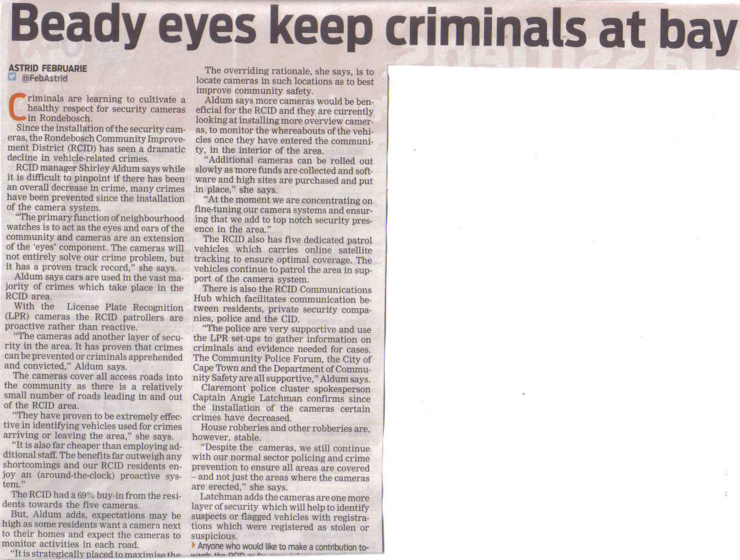 Beady eyes keep criminals at bay ( People's Post, 30 January 2013)