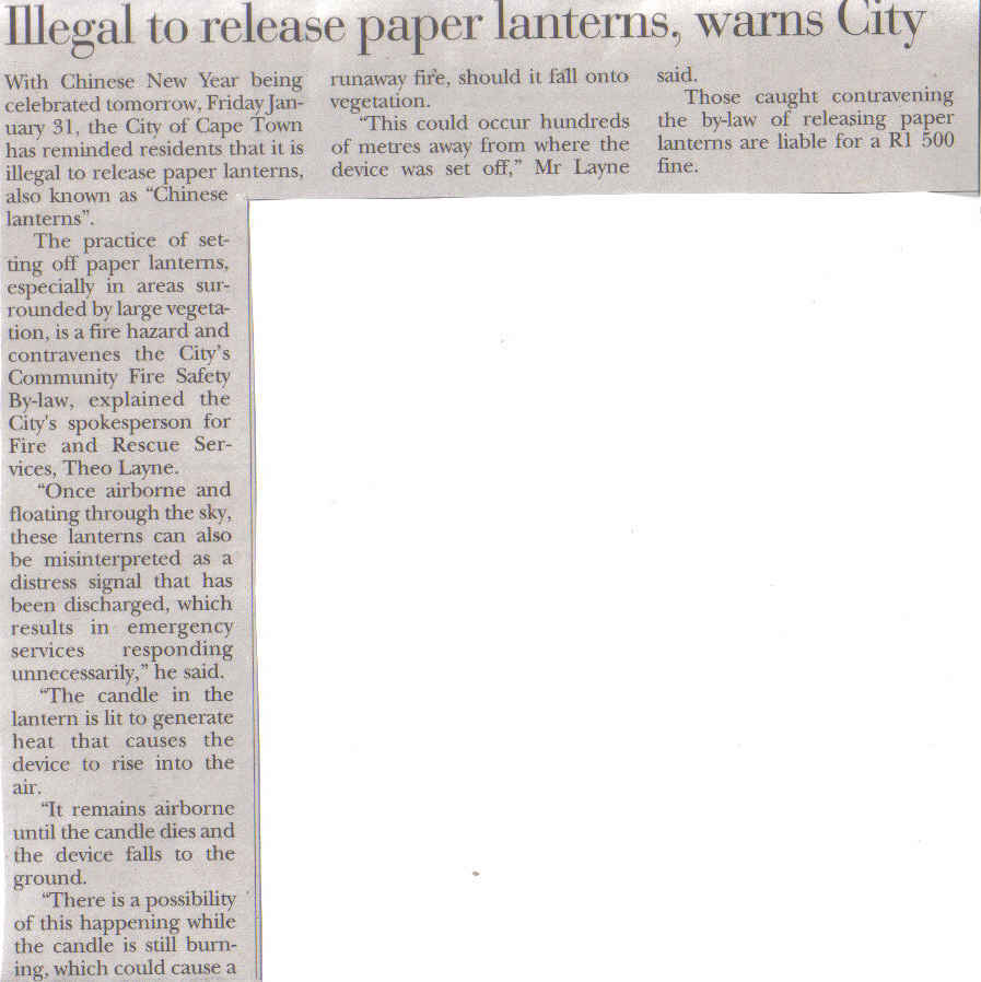 Illegal to release paper lanterns, City warns ( Tatler, 30 January 2014)