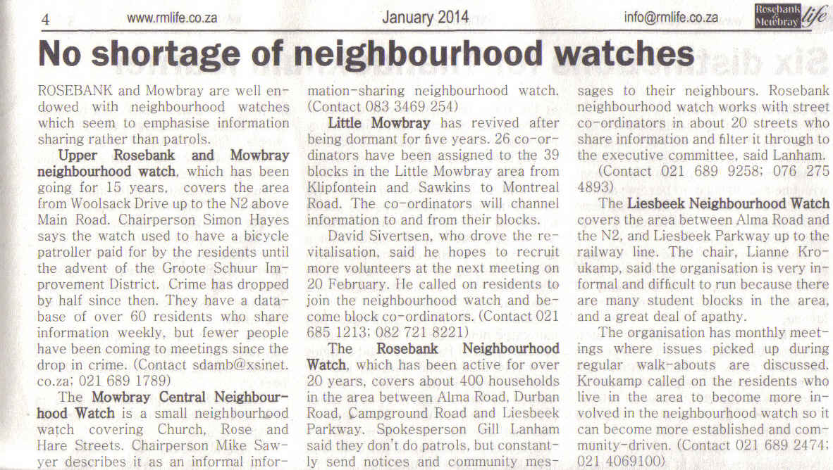 No shortages of neighbourhood watches (Mowbray & Observatory Life, January 2014)