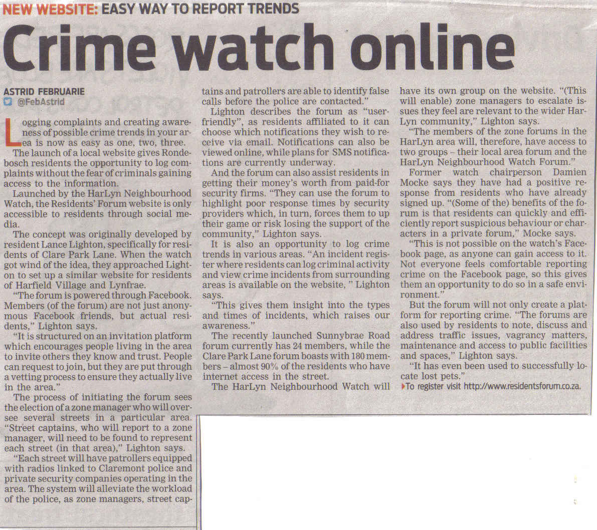 Crime watch online New website - easy to report trends (People's Post, 6 February 2014)