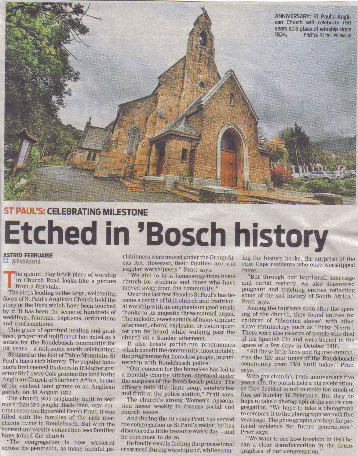 Etched in 'Bosch history (People's Post, 6 February 2014)