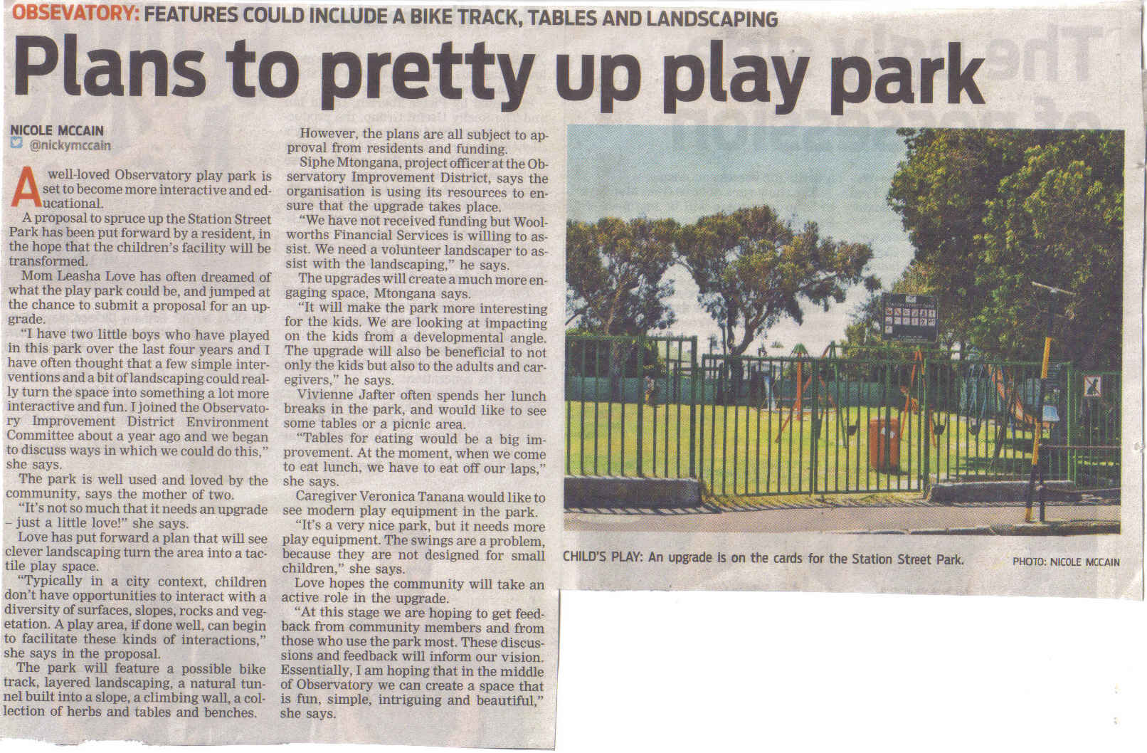 Plans to pretty up play park (People's Post, 13 February 2013