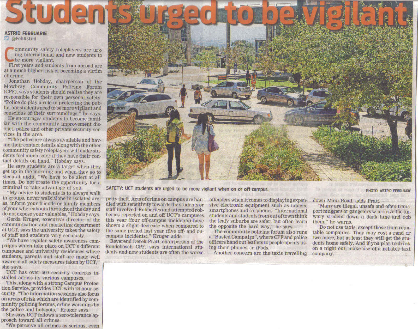 Students urged to be vigilant (People's Post, 20 February 2014)