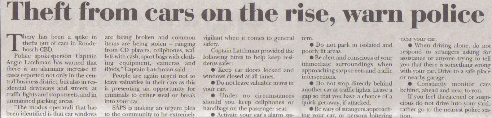 Theft from cars on the rise warn police ( Tatler, 30 January 2014)