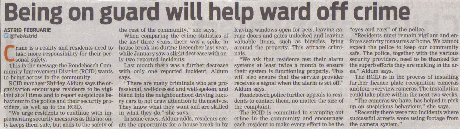 Being on guard will ward off crime (People's Post, 13 March 2013)