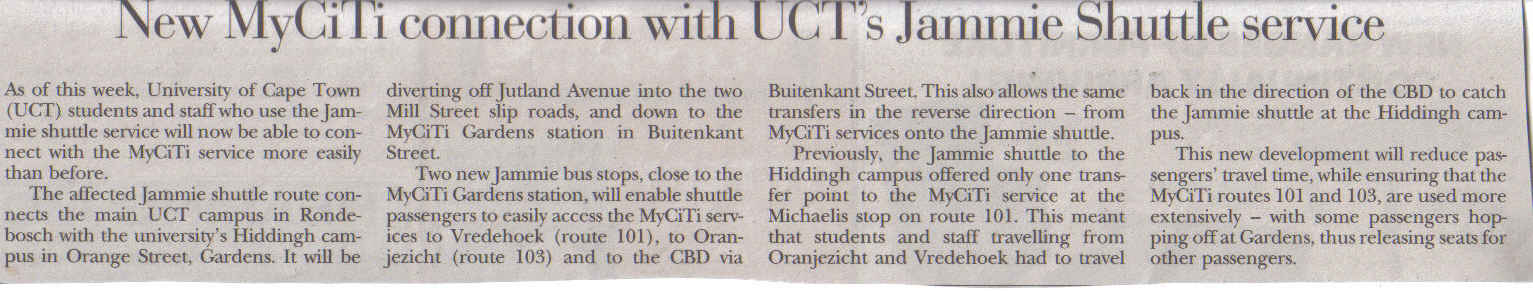 New MyCiti connection with UCT's Jammie Shuttle service (Tatler, 13 February 2014)