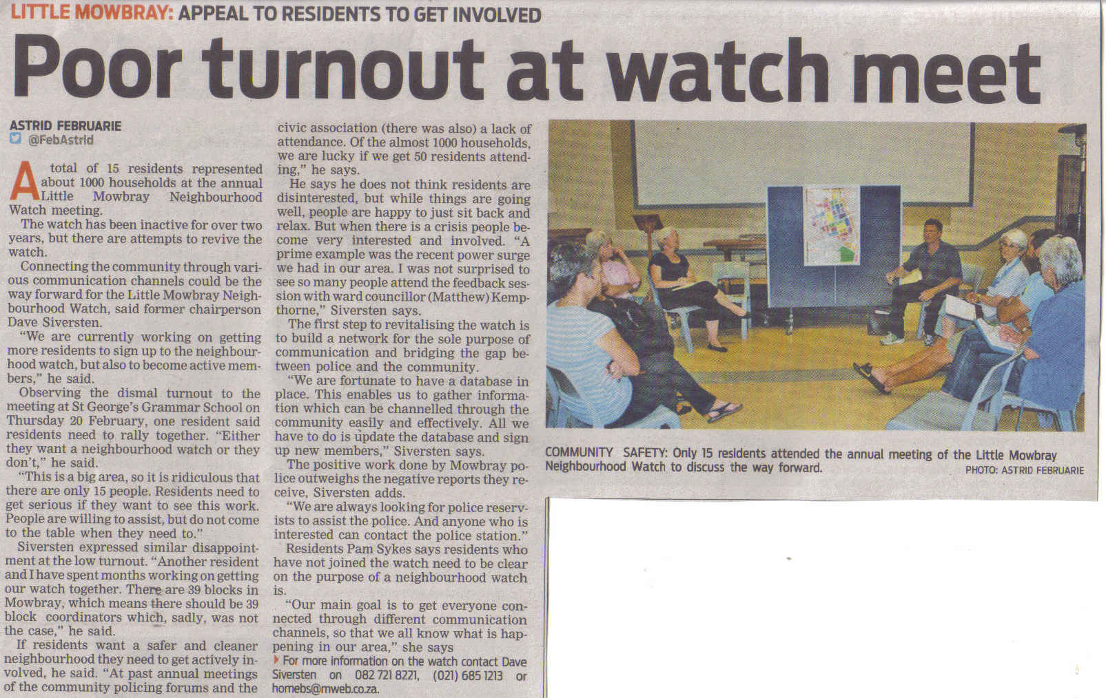 Poor turnout at watch meet (People's Post, 13 February 2013)