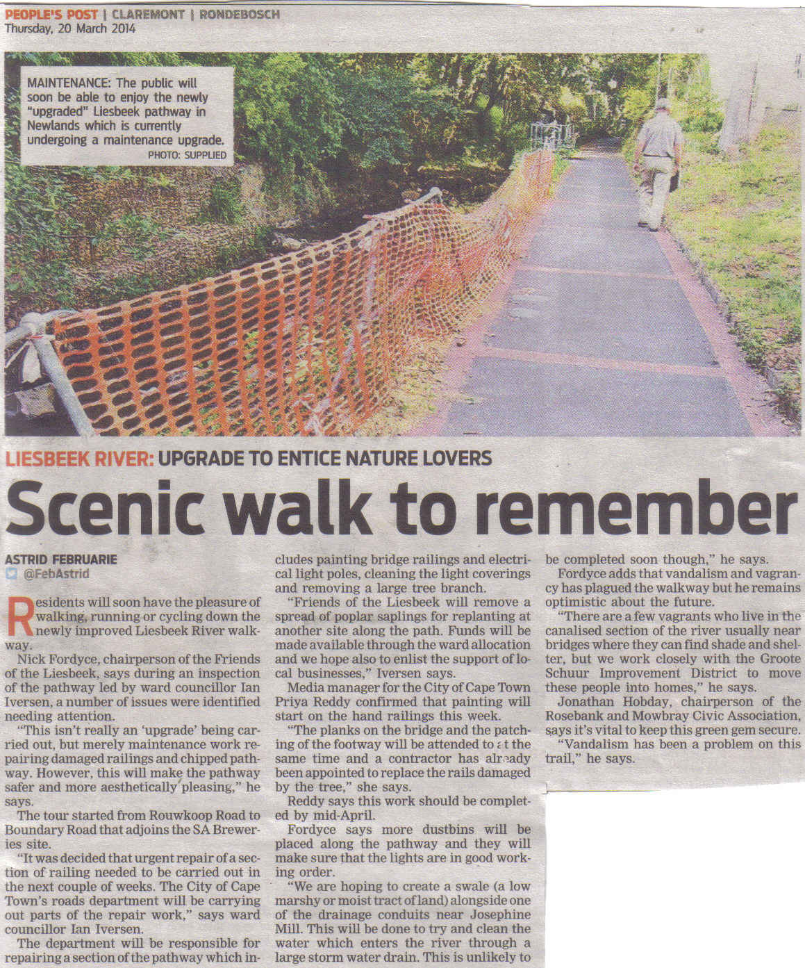 Scenic walk to remember (People's Post,  20 March 2014)