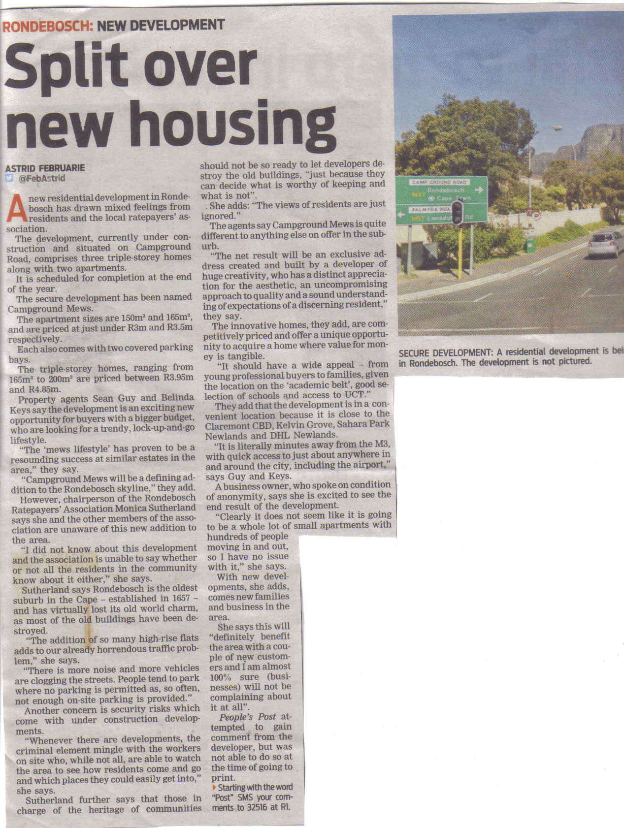 Split over new housing (People's Post, 6 March 2014)