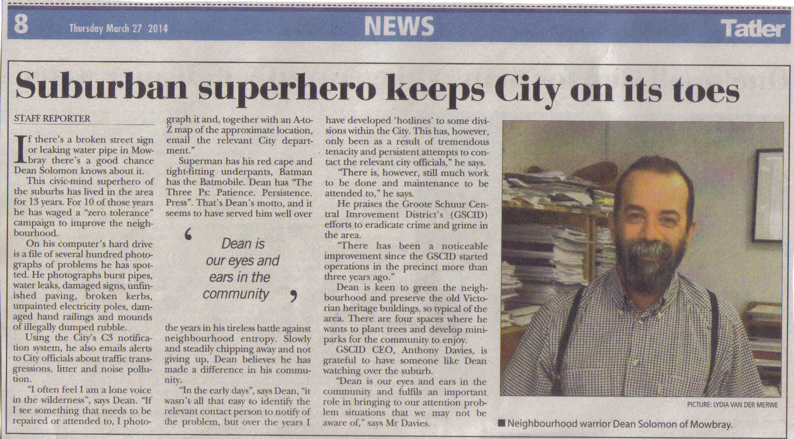 Suburban superhero keeps City on its toes (Thursday, 27 March 2014)