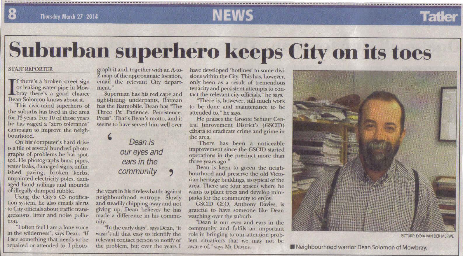 Suburban superhero keeps City on its toes (Thursday, 27 March 2014)
