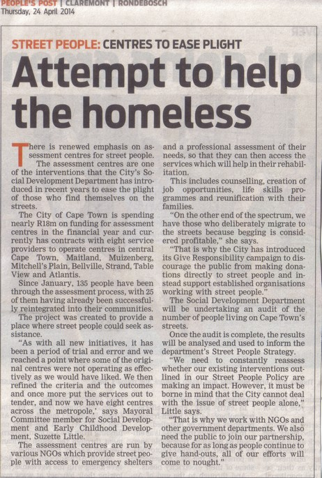 Attempt to help the homeless (People's Post, 24 April 2014)