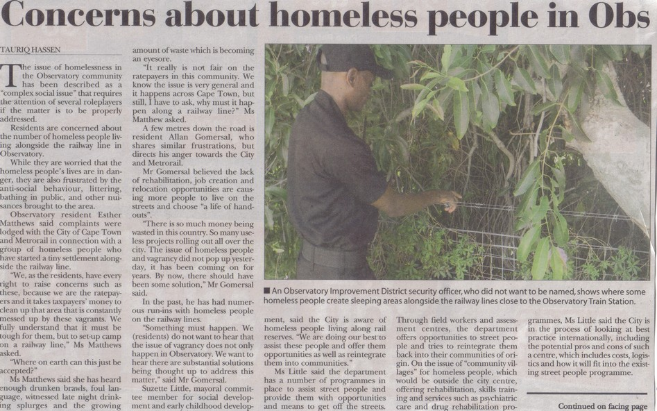 Concerns about homeless people in Obs  (Tatler, 24 April 2014)