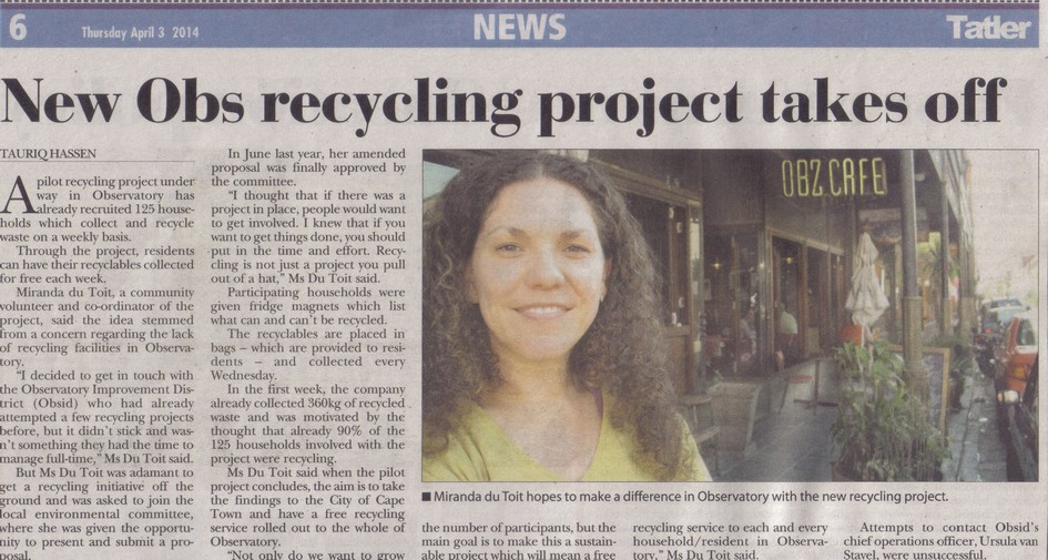 New Obs recycling project takes off (Tatler, 3 April, 2014)