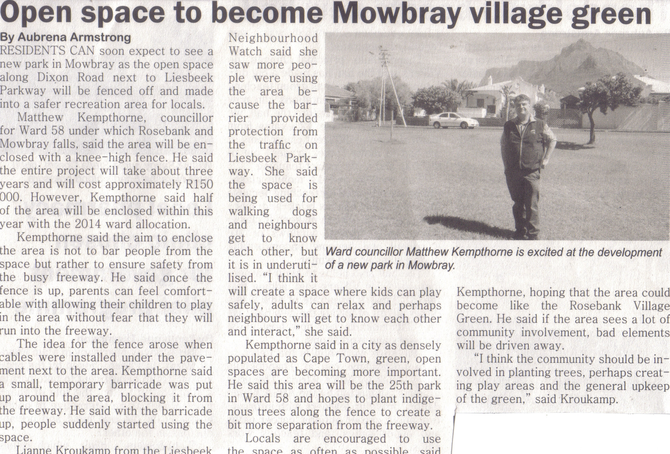 Open space to become Mowbray Village green (Rosebank & Mowbray Life, April 2014)