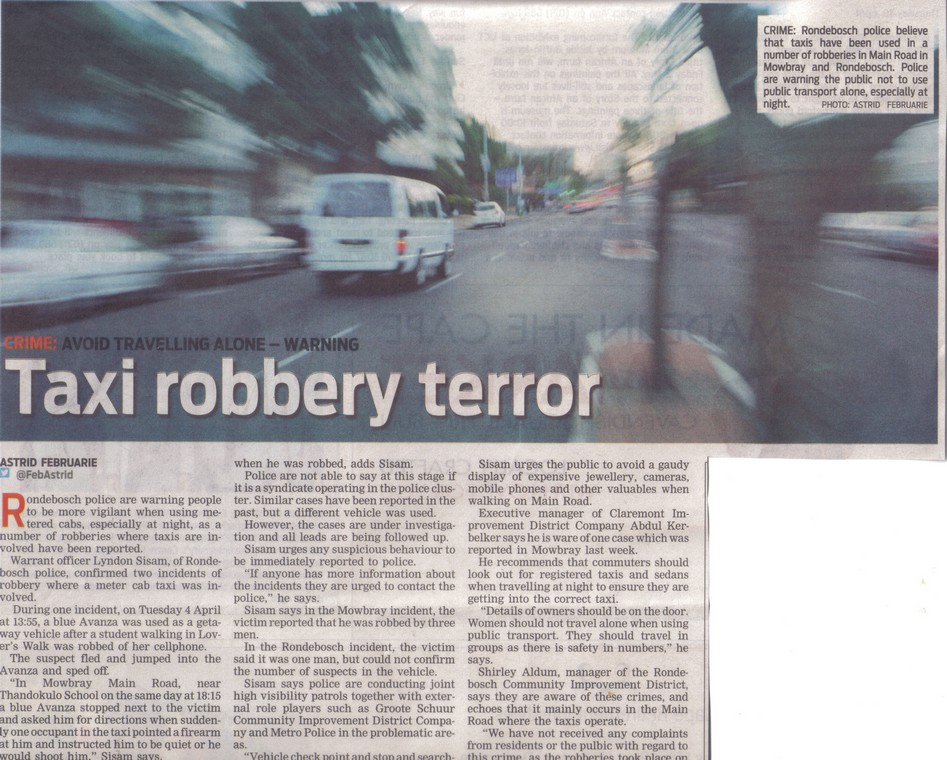 Taxi robber terror (People's Post, 10 April 2014)