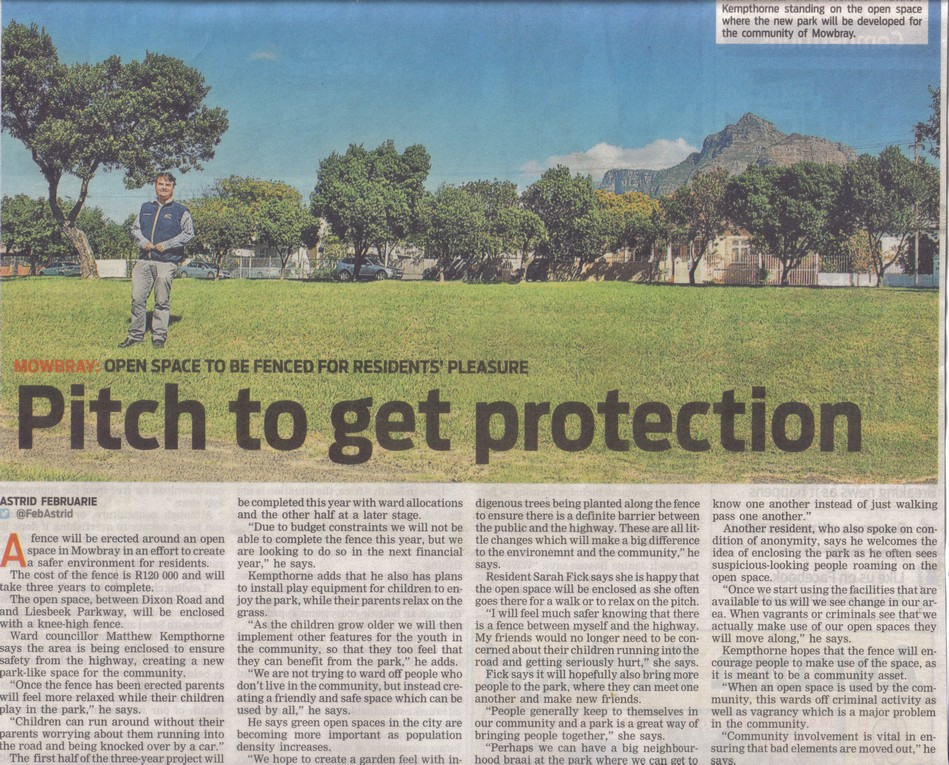 Pitch to get protection (People's Post, 24 April 2014)