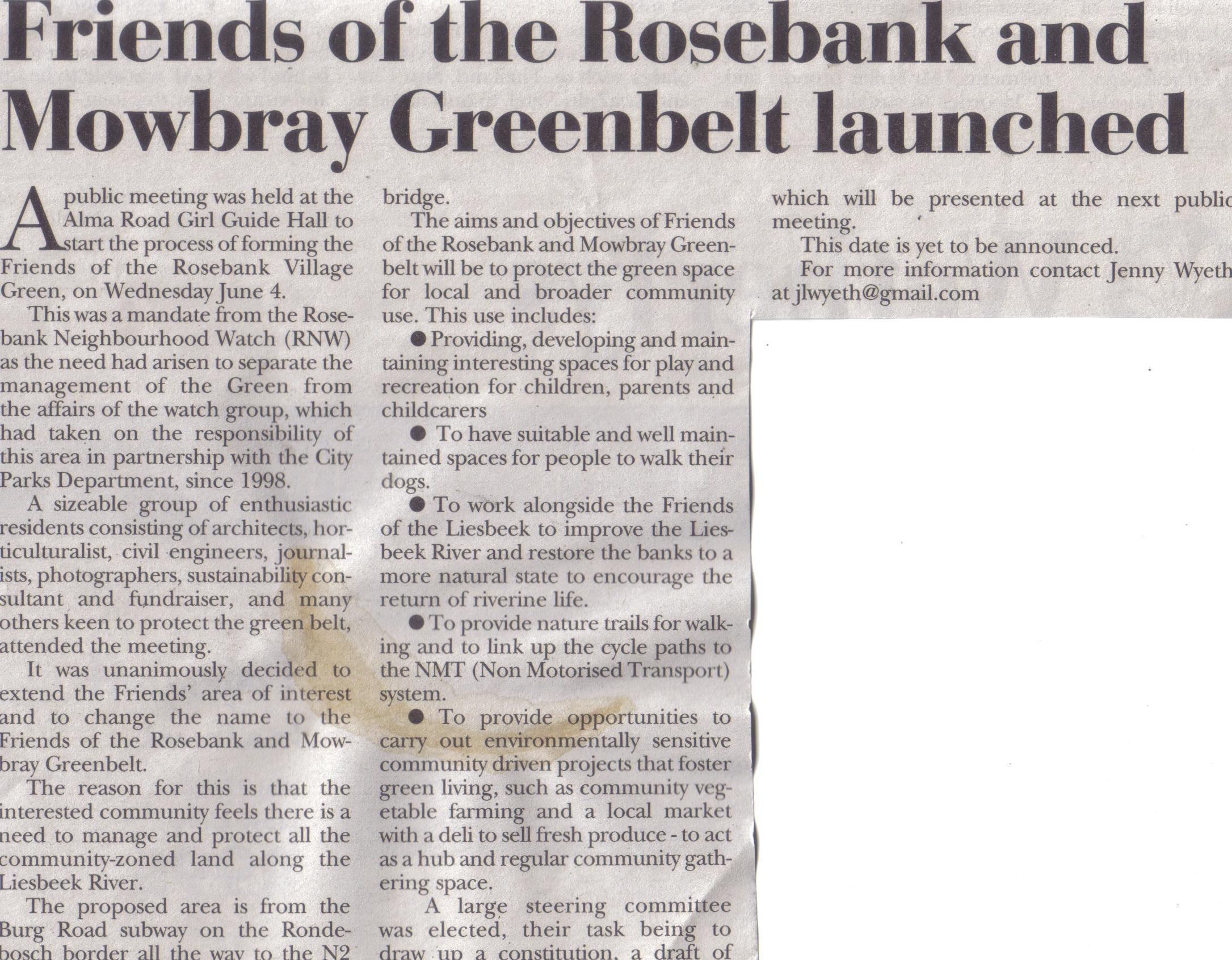 Friends of the Rosebank and Mowbray Greenbelt launched (Tatler, 12 June 2014)