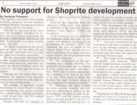 No support for Shoprite development ( Rosebank & Mowbray Life, June 2014)
