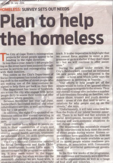 Plan to help the homeless (People's Post, 24 July 2014)