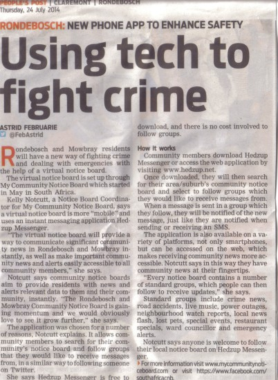 Using tech to fight crime (People's Post, 24 July 2014)