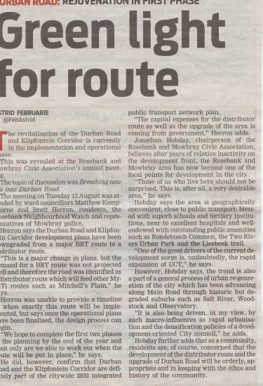 Green light for route (People's Post, 21 August 2014)