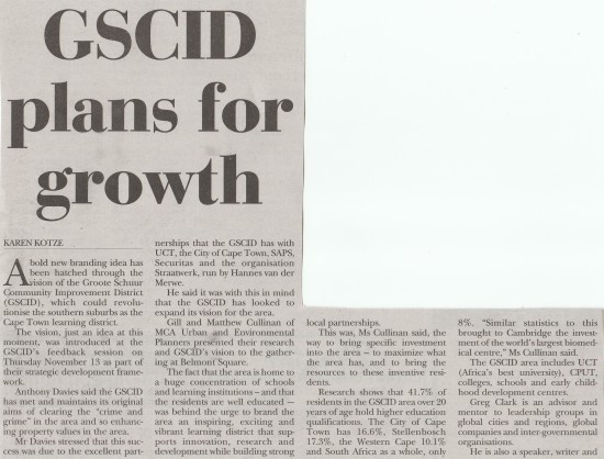 GSCID plans for growth (People's Post, 20 November 2014