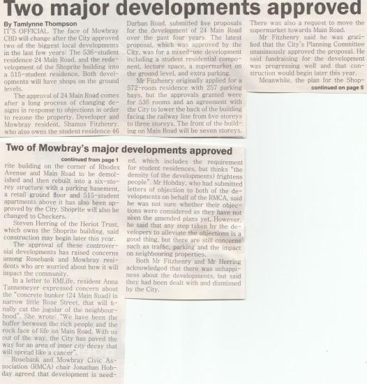 Two major developments approved ( Rosebank and Mowbray Life, January 2015)