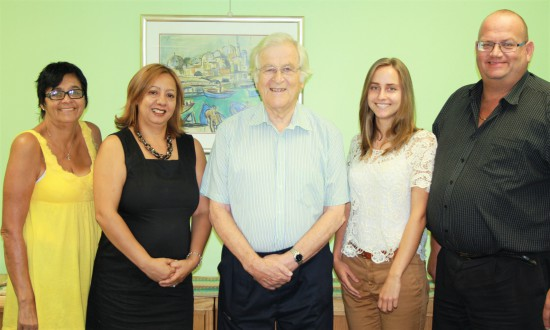 The GSCID Management Team (from L to R): Ingrid Frieslaar (Social Outreach Manager), Nina Farrell (Executive PA and Administration Manager), Anthony Davies (GSCID CEO), Ingrid le Roux (Administration and Reception), and Charl Brooks (GSCID Operations Manager)