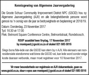 2017 GSCID AGM - Die Burger press ad